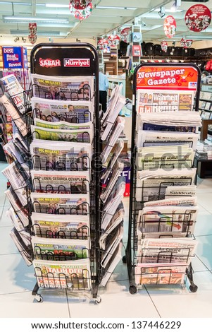 ISTANBUL, TURKEY - JANUARY 03: Turkey Newspapers on January 03, 2012 in Istanbul, Turkey. Newspaper stand with the most important newspapers provide news and information on every aspect of Turkey.