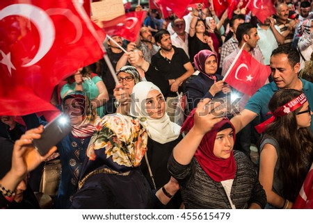 ISTANBUL, TURKEY - JULY 20:A military coup attempt plunged Turkey into a long night of violence and intrigue on July 20, 2016 in Istanbul, Turkey. #455615479