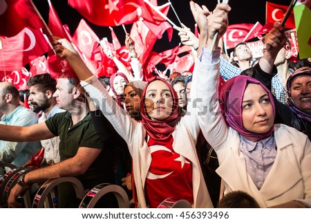 ISTANBUL, TURKEY - JULY 21:A military coup attempt plunged Turkey into a long night of violence and intrigue on July 21, 2016 in Istanbul, Turkey. #456393496