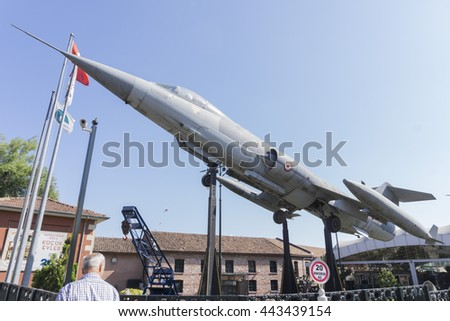 ISTANBUL, TURKEY - JULY 21, 2015: 1974 American Lockheed F-104 Starfighter supersonic interceptor aircraft at Rahmi M. Koc Museum in Istanbul, Turkey #443439154