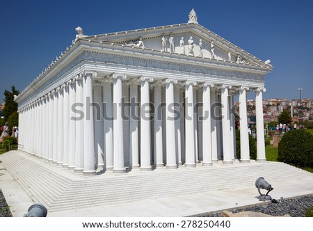 ISTANBUL, TURKEY - 10 JULY, 2014: Miniaturk park in Istanbul, Turkey. Scale model reconstruction of Temple of goddess Artemis. It was located in Ephesus. One of the Seven Wonders of the Ancient World.