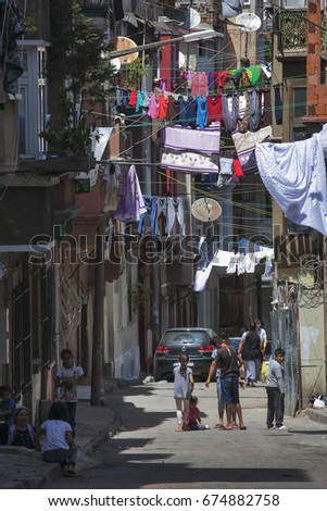 ISTANBUL TURKEY 05 July 2017 Old house in municipality of Belediye in Istanbul. #674882758