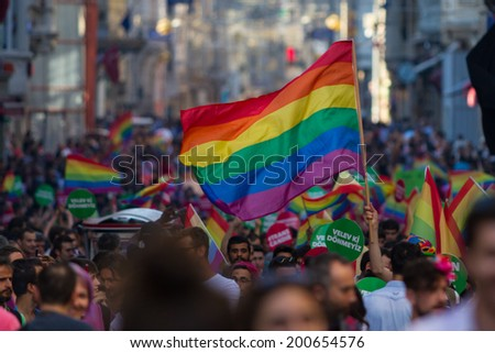 ISTANBUL, TURKEY - JUNE 22, 2014: 5. Trans Pride March held in Istiklal Avenue, Istanbul. Thousands of people gathered to celebrate begining of LGBT Honor week. #200654576