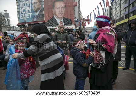 Istanbul Turkey March 27, 2017 AKP supporters gathered for constitution referendum meeting in Gaziosmanpasa, Istanbul. #609670409