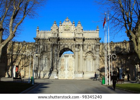 ISTANBUL, TURKEY - MARCH 17  :Main entrance of Dolmabahce Palace at eventime on March 17, 2012. Dolmabahce Palace is at the bank of Bosphorus and was built in 1856.