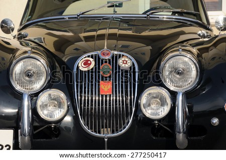ISTANBUL-TURKEY -MARCH 4, 2009. The Classic car Jaguar xk15 to press  showed per Turkish turing and automobile foundation.