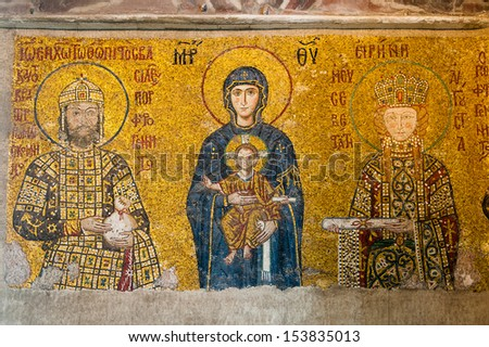ISTANBUL, TURKEY - MARCH 03: The Virgin Mary and Jesus Christ as a child, a Byzantine mosaic in the interior of Hagia Sophia, on March 03, 2013 in Istanbul. - stock photo