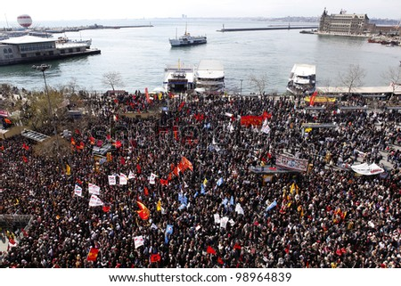 ISTANBUL,TURKEY-MARCH 31:Unidentified people protest the decision of the statute of limitations in the case of the Sivas Massacre on March 31, 2012, in Istanbul,Turkey.
