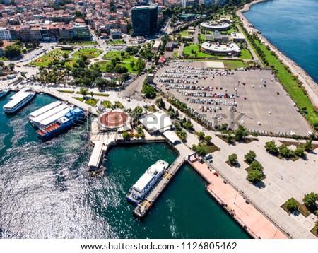 Istanbul, Turkey - May 23, 2018: Aerial Drone View of Kadikoy Car Park. Cityscape Stok fotoğraf ©
