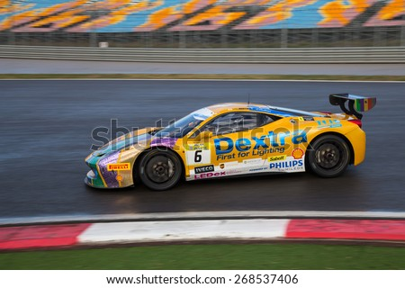 ISTANBUL, TURKEY - OCTOBER 25, 2014: Alexander Martin drives Ferrari 458 Challenge EVO of Motor Piacenza Racing Team during Ferrari Racing Days in Istanbul Park Racing Circuit
