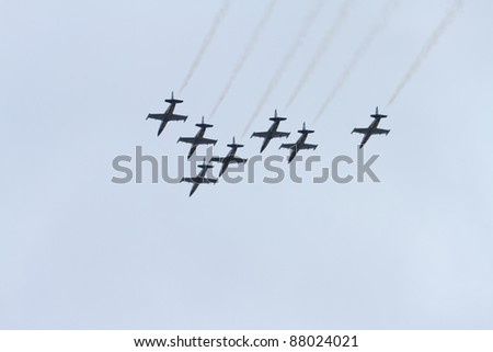 ISTANBUL, TURKEY - OCTOBER 16 : Breitling Jet Team performs during their Middle East Tour at the Istanbul, Halic on October 16, 2011 in Istanbul, Turkey.