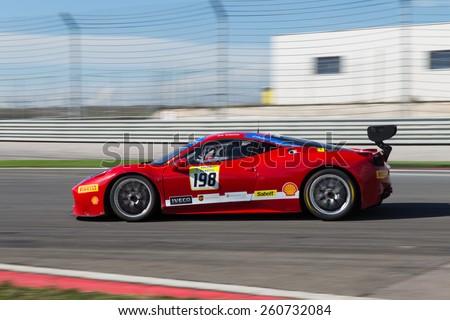 ISTANBUL, TURKEY - OCTOBER 25, 2014: Eric Cheung drives Ferrari 458 Challenge EVO of Motor Piacenza Racing Team during Ferrari Racing Days in Istanbul Park Racing Circuit