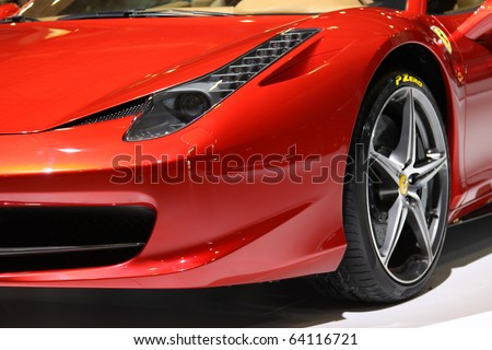 ISTANBUL, TURKEY - OCTOBER 30: Ferrari 458 Italia at 13th International Auto Show on October 30, 2010 in Istanbul, Turkey.