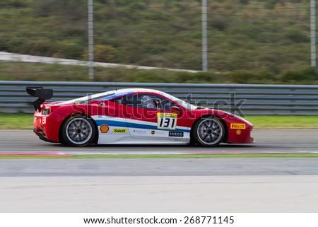 ISTANBUL, TURKEY - OCTOBER 26, 2014: Kriton Lendoudis drives Ferrari 458 Challenge EVO of Motor Piacenza Racing Team during Ferrari Racing Days in Istanbul Park Racing Circuit