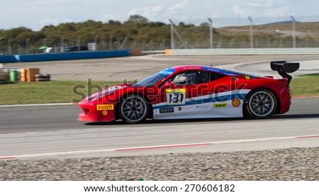 ISTANBUL, TURKEY - OCTOBER 25, 2014: Kriton Lendoudis drives Ferrari 458 Challenge EVO of Motor Piacenza Racing Team during Ferrari Racing Days in Istanbul Park Racing Circuit