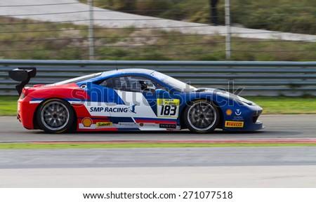 ISTANBUL, TURKEY - OCTOBER 26, 2014: Maxim Lukyanov drives Ferrari 458 Challenge EVO of Motor Piacenza Racing Team during Ferrari Racing Days in Istanbul Park Racing Circuit