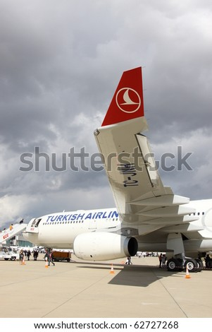 ISTANBUL, TURKEY - OCTOBER 3: Turkish airlines airplane Airbus A330, Topkapi on 8th international civil aviation and airports exhibition on Oct 3, 2010 in Istanbul, Turkey.
