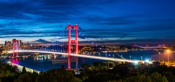 ISTANBUL, TURKEY. Panoramic view of Istanbul Bosphorus on sunset. Istanbul Bosphorus Bridge (15 July Martyrs Bridge. Turkish: 15 Temmuz Sehitler Koprusu). Beautiful cloudy blue sky.