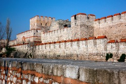 ISTANBUL, TURKEY. Partial view of the Theodosian (byzantine) walls of Istanbul, Turkey