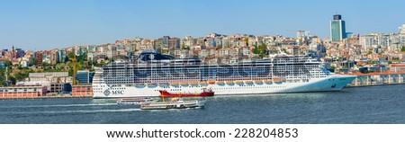 Istanbul, Turkey - September 10, 2014: MSC Preziosa, the passenger cruise ship in port of Istanbul in Turkey.