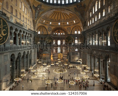ISTANBUL,TURKEY - SEPTEMBER 02: Tourists visit Hagia Sophia on September 02, 2011 in Istanbul, Turkey. Hagia Sophia is a former Orthodox patriarchal basilica, later a mosque and now a museum.