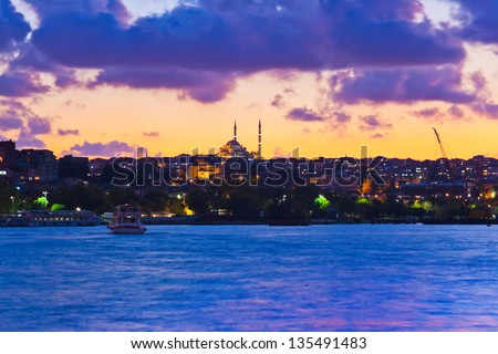 Istanbul Turkey sunset - architecture travel background