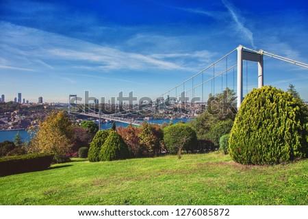 ISTANBUL, TURKEY: View of the Bosphorus and the Fatih Sultan Mehmet Bridge photo, taken from Otagtepe, Beykoz in Istanbul, Turkey #1276085872
