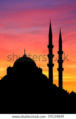 Istanbul Yeni mosque at sunset