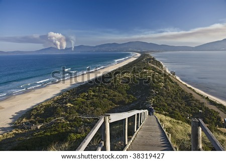 Isthmus connecting North and South Bruny Islands in Tasmania, Australia