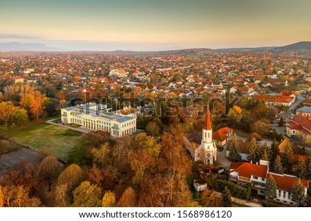 Istvan Karolyi's castle in Fot, Hungary. Next to Budapest city.  Great park with trees and lakes, old building.  Stock fotó ©