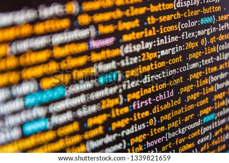 IT business. Programming on monitor background. Php language and coding function developer. Developer working on web sites codes in office. Css3 code on a colorful background.  #1339821659