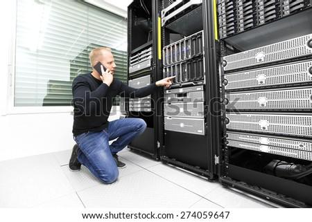 IT consultant calling support in datacenter