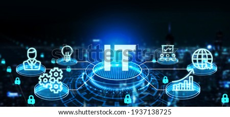 IT consultant presenting tag cloud about information technology 3d illustration Foto stock ©