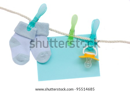 it is a boy birth sampler - baby boy socks and soother with blank ...