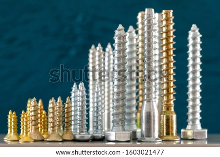It is a group of various screws of various thicknesses and various lengths. This set of screws is shown on a colored dark background.