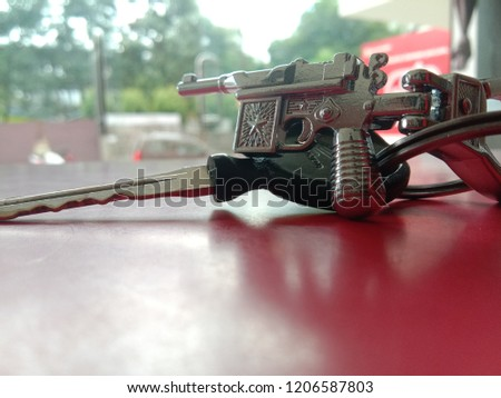 It is a key ring with key. key ring is like a gun #1206587803