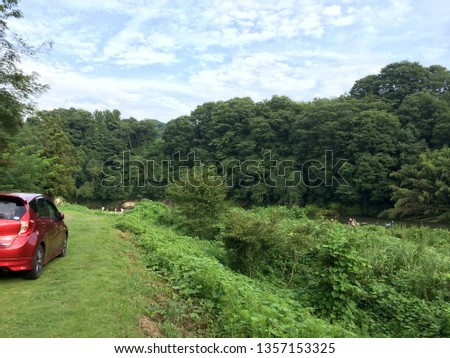 It is a picture take at a campground in Japan. There is a river and forest. The red car is own.