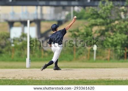 It is a practice landscape of Japan boy baseball