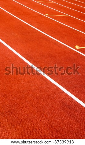 It is a red sport field for race. - stock photo