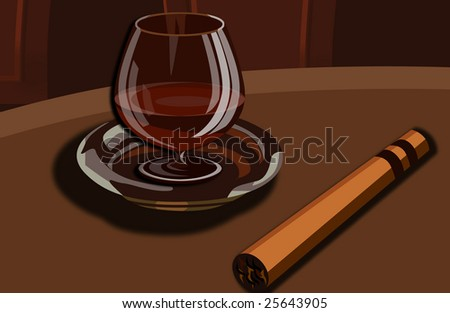 It is a tasty cup of cognac with a cigar
