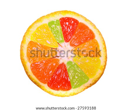 It is an orange, a grapefruit, a lemon, a lime simultaneously. Or orange vision under alcoholic or narcotic intoxication. See other partes in my portfolio.