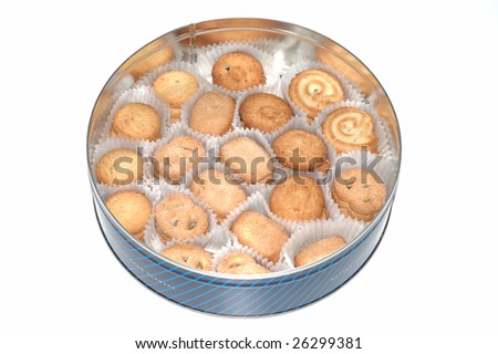 it is difference shape Denmark butter cookies in the case. isolated - stock photo