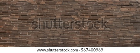 it is horizontal dark  brown brick wall for pattern and background. #567400969