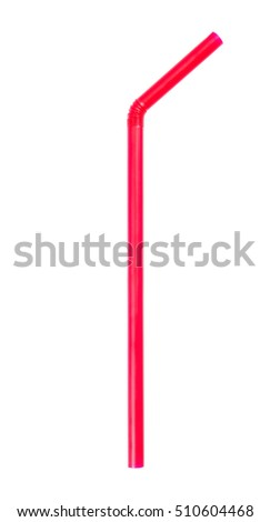 It is Red pink straw isolated on white.Straw isolated on white background #510604468