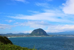 It is the scenery of Sanbang mountain of Jeju.