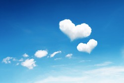 it is two heart clouds on blue sky.