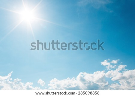 It is White Clouds on the blue sky with sun shines. #285098858