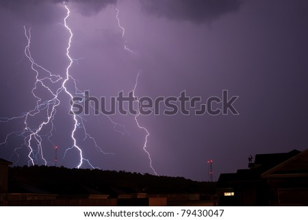 It may be hard to believe but this isn't a combination of shots or a long exposure geared toward collecting several lightning shots. All of this happened within a split second.