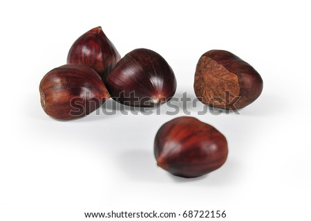 it photographs of first plane of five chestnuts with white bottom