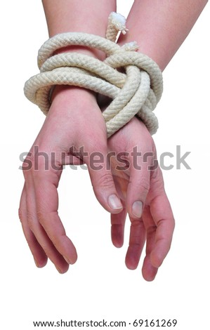 it photographs of two woman hands tied with a rope